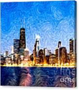 Swirly Chicago At Night Canvas Print