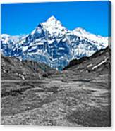 Swiss Alps - Schreckhorn And Valley In Black And White Canvas Print