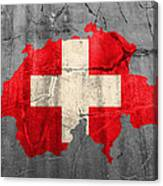 Switzerland Flag Country Outline Painted On Old Cracked Cement Canvas Print