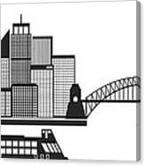 Sydney Australia Skyline Black And White Illustration Canvas Print