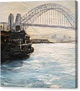 Sydney Ferry Wharves 1950's Canvas Print