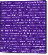 Sydney In Words Purple Canvas Print