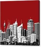 Sydney Skyline 1 - Dark Red Canvas Print