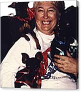 Sylver Short With Her Miniature Pinschers Christmas 2002-2008 Canvas Print