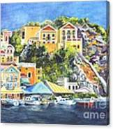 Symi Harbor The Grecian Isle  Canvas Print