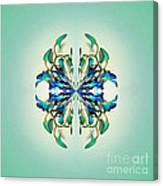 Symmetrical Orchid Art - Blues And Greens Canvas Print