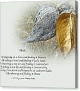 Sympathy Greeting Card - Poem And Milkweed Pods Canvas Print