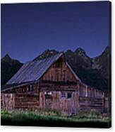T. A. Moulton Homestead Barn At Night Canvas Print