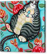 Tabby Cat On A Cushion Canvas Print