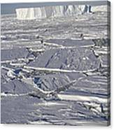 Tabular Icebergs Among Broken Fast Ice Canvas Print