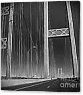 Tacoma Narrows Bridge B W Canvas Print