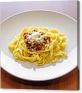Tagliatelle Bolognese Sauce With Parmesan Canvas Print