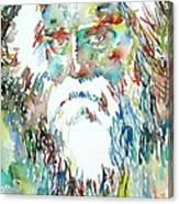 Tagore Watercolor Portrait Canvas Print