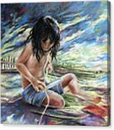 Tahitian Boy With Knife Canvas Print