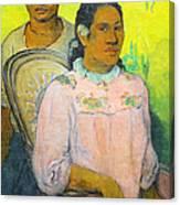 Tahitian Woman And Boy Canvas Print