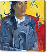 Tahitian Woman With A Flower Canvas Print