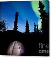 Taiga Tent Illuminated Under Northern Lights Flare Canvas Print
