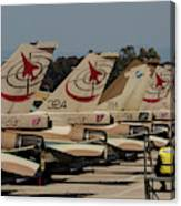 Tail Fins Of Israeli Air Force F-16`s Canvas Print