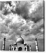 Taj Mahal India In Black And White Canvas Print