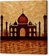 Taj Mahal Lovers Dream Original Coffee Painting Canvas Print
