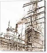 Tall Ship Assist Sepia Canvas Print