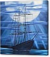 Tall Ship By Moonlight Canvas Print