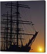 Tall Ship Silhouetted Canvas Print