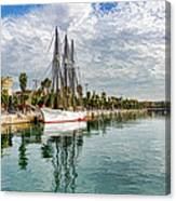 Tall Ships And Palm Trees - Impressions Of Barcelona Canvas Print