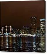 Tall Ships At Night Panorama Set Panel 1 Canvas Print