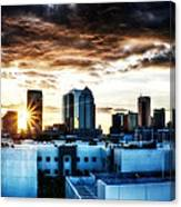 Tampa Skyline At Sunset Hdr 1 Canvas Print