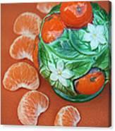 Tangerine Slices And Ceramics Canvas Print