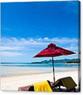 Tanning Beds On A Tropical Beach Koh Samui Thailand Canvas Print