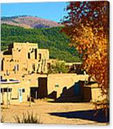 Taos Pueblo South In Autumn Canvas Print