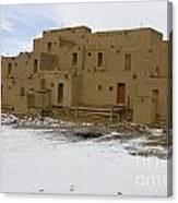 Taos Pueblo With Snow Canvas Print