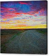 Taos Sunset On Rice Paper Canvas Print
