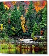 Taquamenon Lower Falls And Observation Deck. Canvas Print