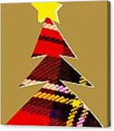 Tartan Christmas Tree On Gold Canvas Print