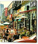 Tavern In The Village Urban Cafe Scene - A Cool Terrace Oasis On A Busy Hot Montreal City Street Canvas Print