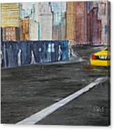 Taxi 9 Nyc Under Construction Canvas Print