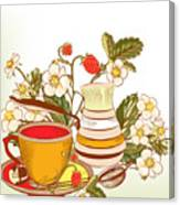 Tea Or Coffee Vector Background With Canvas Print