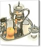 Tea Service With Orange Dramatic Canvas Print