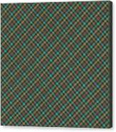 Teal And Green Diagonal Plaid Pattern Fabric Background Canvas Print