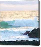 Teal Wave On Golden Waters Canvas Print