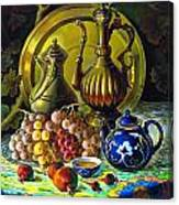 Teapot And Brass Vases Canvas Print