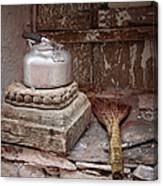 Teapot And Broom Canvas Print