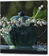 Teapot And Lily Of The Valley Canvas Print