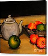 Teapot With Some Fruit Canvas Print