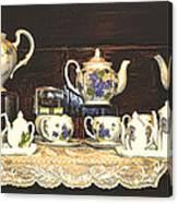 Teapots On Grundge Canvas Print