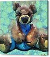 Teddy Bear In Blue Canvas Print