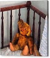 Teddy Bear In Crib Canvas Print